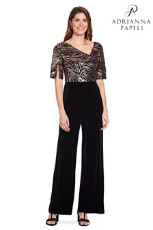 Adrianna Papell Black Combo Sequin Jumpsuit