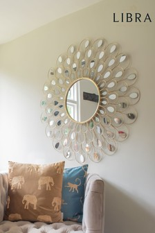Libra Peacock Feather Decorative Round Mirror