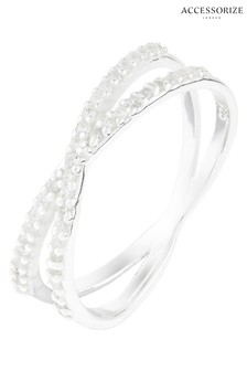 Accessorize Clear St Pave Cross Ring