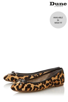 Dune London Wide Fit Leopard Print Leather Bow Ballerinas