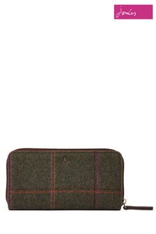 Joules Green Fairford Tweed Zip Around Purse