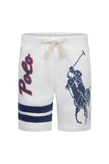 Boys White Cotton Polo Shorts