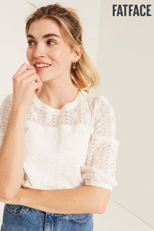 FatFace Natural Mary Lace Top