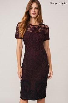 Phase Eight Purple Kadie Cap Sleeve Tapework Dress
