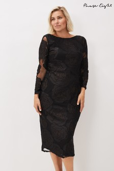 Phase Eight Black Trina Rose Midi Dress