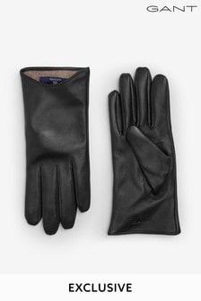 Czarne damskie rękawiczki skórzane GANT