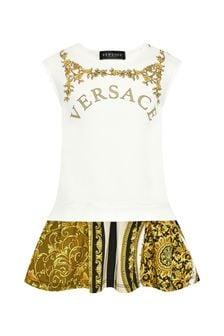 Versace Baby Girls White Cotton Dress