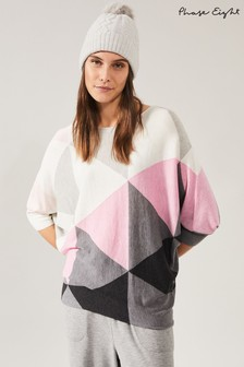 Phase Eight Pink Becca Triangle Print Knit Top