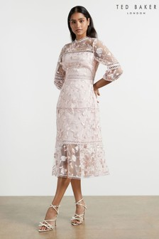 Ted Baker Pink Tabii Tiered Midi Dress With Tape Detailing