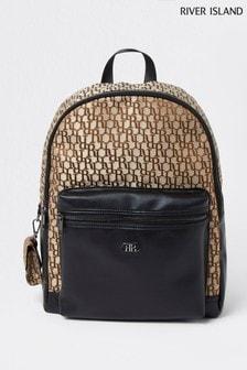 River Island Brown Jacquard Backpack