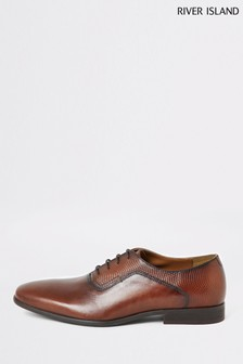 River Island Brown Ralph Mixed Material Oxford Shoes