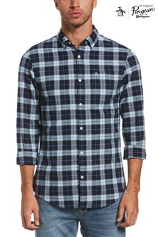 Original Penguin® Blue Plaid Check Slim Fit Cotton Oxford Shirt