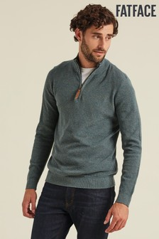FatFace Green Cotton Cashmere Stitch Half Jumper