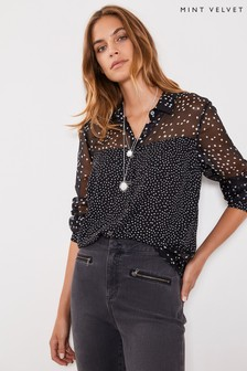 Mint Velvet Black Mixed Spot Print Blouse