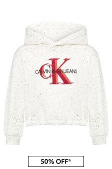 Calvin Klein Jeans Girls Cream Cotton Hoody