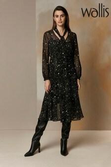 Wallis Black Star Print Tie Neck Midi Dress