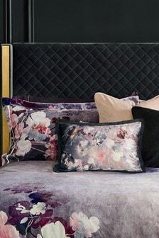 Black Printed Velvet Floral Cushion