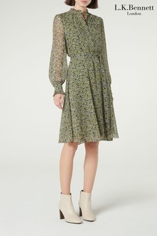 L.K.Bennett Green Liza Frill Neck Silk Dress