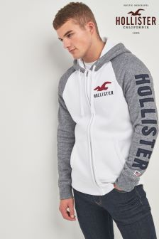 Hollister White Logo Zip Hoody