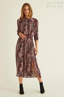 Oliver Bonas Zebra Print Midi Dress