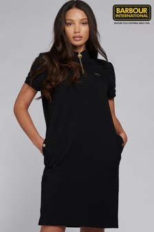 Barbour® International Black Jersey Zip Neck Baltimore Dress