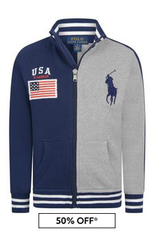 Boys Navy/Grey Cotton Zip Up Top