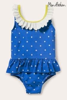 Boden Blue Frill Waist Swimsuit