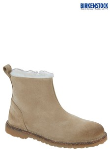 Birkenstock® Taupe Shearling Suede Boots