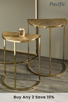 Pacific Set Of 2 Gold Metal Half Moon Tables