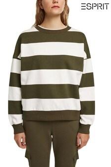 Esprit Green Sweatshirt with Block Stripes