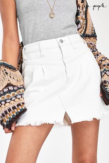 Free People Frayed Denim Mini Skirt