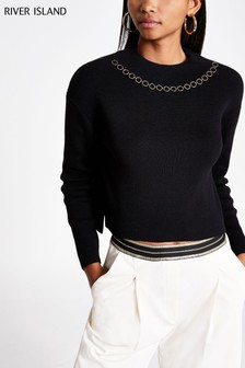 River Island Black Heidi Chain Jumper