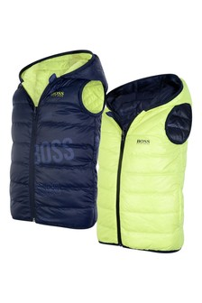Boys Lime/Navy Reversible Padded Gilet