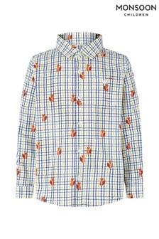 Monsoon Children Cream Caleb Fox Check Shirt