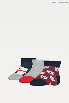Tommy Hilfiger Blue 3 Pack Bear Baby Sock Gift Pack