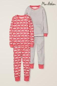 Boden Pink Long John Pyjamas Two Pack