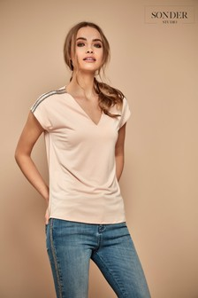 Sonder Studio Grey Bling Shoulder Cupro T-Shirt