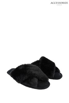 Accessorize Black Luxe Faux Fur Sliders