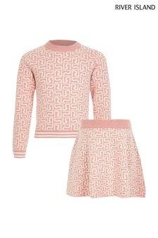 River Island Pink Jumper And Skirt Set