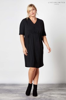 Live Unlimited Black Jersey Drawstring Waist Dress
