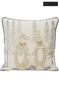 Advent Skating Penguins Cushion by Riva Home
