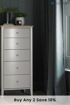 Whitby Scandi Oak Grey 5 Drawer Chest by Bentley Designs