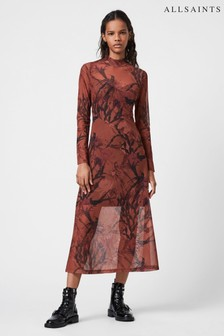 AllSaints Pink Hanna Print Dress