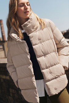Faux Leather Padded Coat