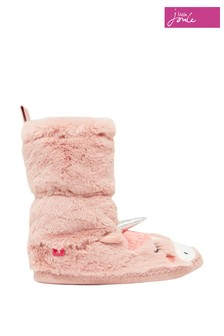 Joules Pink Junior Padabout Luxe Faux Fur Slipper Socks