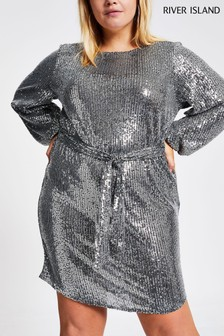 River Island Silver Harley Sequin Dress