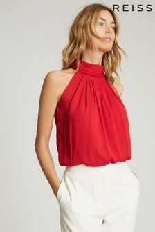 Reiss Red Daniella High Neck Sleeveless Top