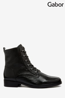 Gabor Black Keady Wide Foot Fit Patent Ankle Boots
