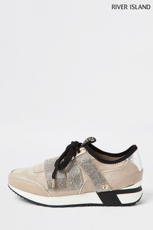 River Island Beige Pull-On Heatseal Runner Trainers