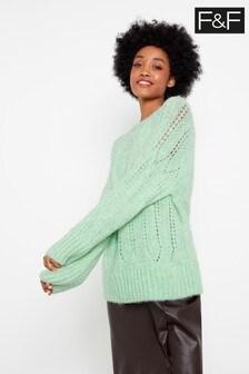 F&F Green Pointelle Stitch Jumper